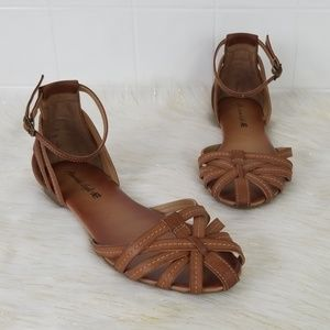 American Eagle AE brown boat ankle wrap sandals